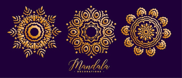 Conjunto de três mandalas douradas decorativas