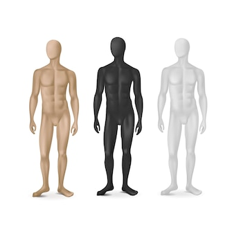 Conjunto de três manequins masculinos