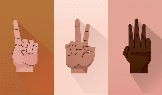 Conjunto de três mãos humanos, símbolos, gestos, ícones