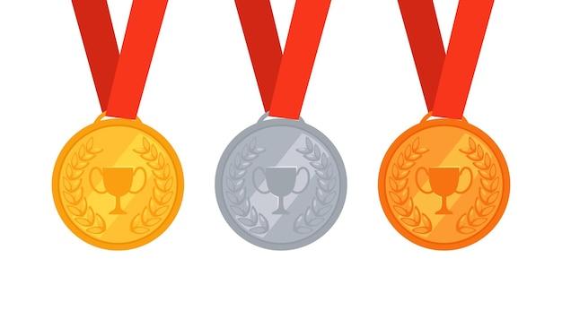 Conjunto de três medalhas de ouro, prata e bronze. prêmio para o primeiro, segundo e terceiro lugares.