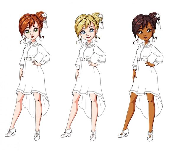 Conjunto de três meninas diferentes, vestido tradicional chinês. corpo colorido com traje branco.
