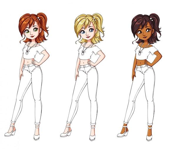 Conjunto de três meninas diferentes, vestindo jeans e camisa. corpo colorido com traje branco.