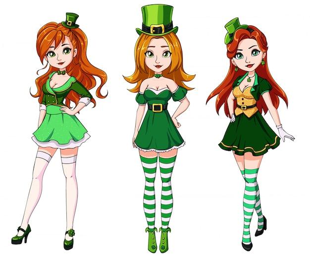 Conjunto de três meninas ruivas bonitas vestindo fantasia de dia de st. patricks