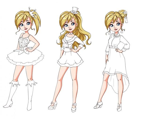 Conjunto de três miúdas giras com cortes de cabelo de celebração e roupas. corpo colorido com traje branco.