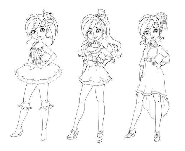 Conjunto de três miúdas giras com diferentes cortes de cabelo e roupas. imagens delineadas. mão-extraídas ilustração dos desenhos animados.