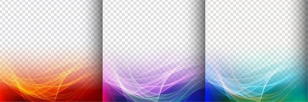 Conjunto de três ondas transparentes coloridas de fundo
