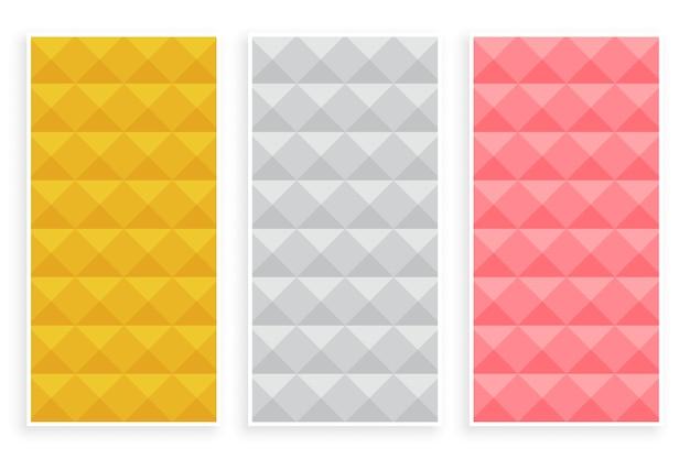Conjunto de três padrões 3d de estilo diamante premium