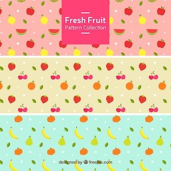 Conjunto de três padrões com frutas frescas