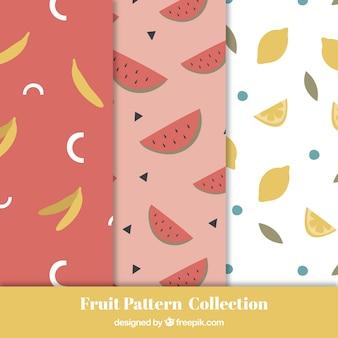 Conjunto de três padrões de frutas