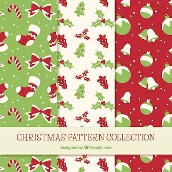 Conjunto de três padrões de natal vintage