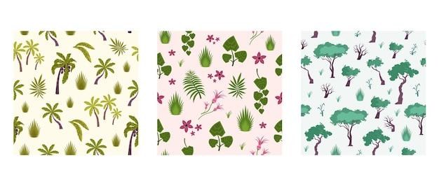 Conjunto de três padrões de quadrados com flores e plantas
