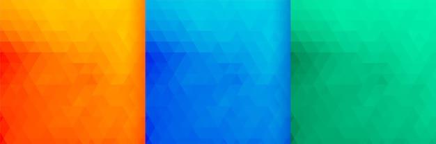 Conjunto de três padrões de triângulos de cores brilhantes