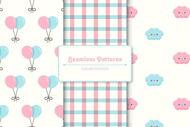 Conjunto de três padrões sem emenda de chá de bebê