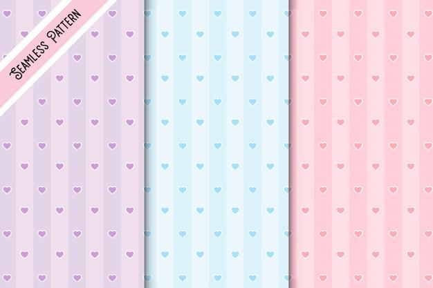 Conjunto de três padrões sem emenda de corações em cores pastel