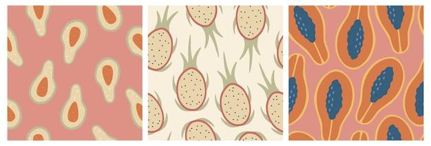 Conjunto de três padrões sem emenda de frutas frescas