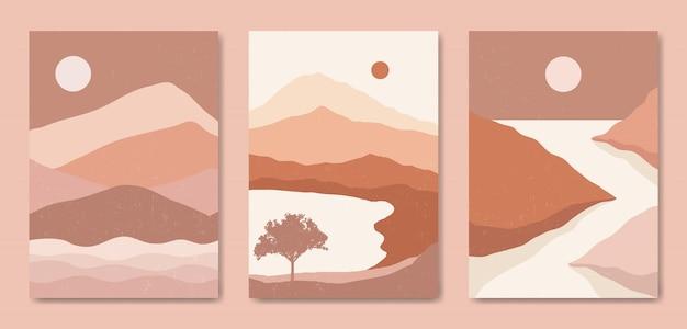 Conjunto de três paisagem moderna estética de meados do século modelo de capa de pôster boho contemporâneo