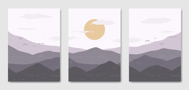 Conjunto de três paisagem moderna estética de meados do século modelo de pôster boho contemporâneo