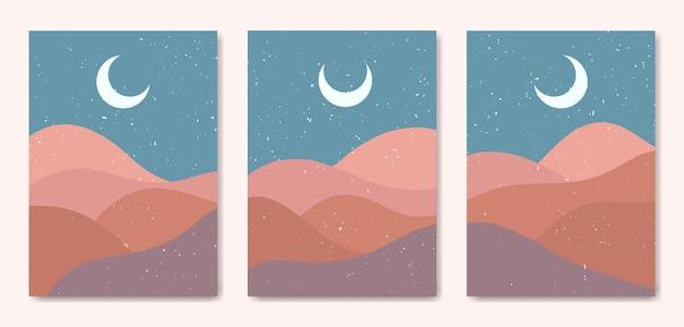 Conjunto de três paisagens coloridas modernas de meados do século estético abstrato