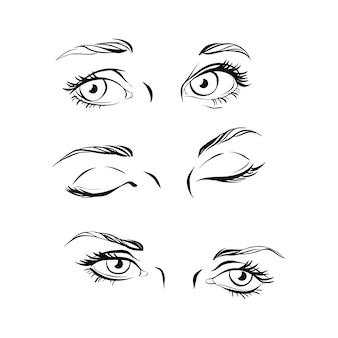 Conjunto de três pares de olhos, desenho em preto e branco