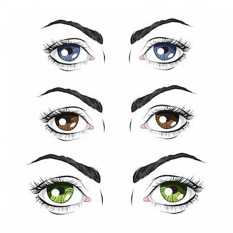 Conjunto de três pares de olhos, verde, azul e marrom