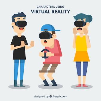 Conjunto de três personagens com óculos virtuais em design plano
