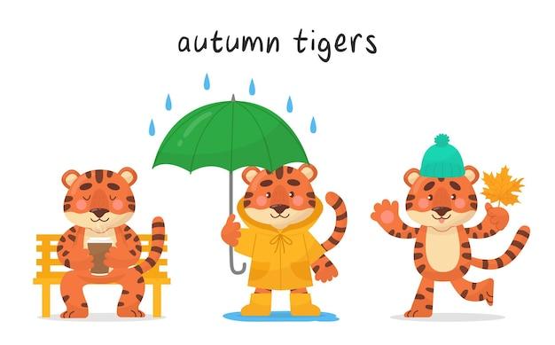 Conjunto de três personagens fofinhos tigres. ð¡caracter para cada mês do outono. estilo de desenho vetorial. as ilustrações são adequadas para produtos para bebês, adesivos, banners e pôsteres.