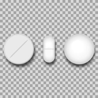 Conjunto de três pílulas brancas diferentes