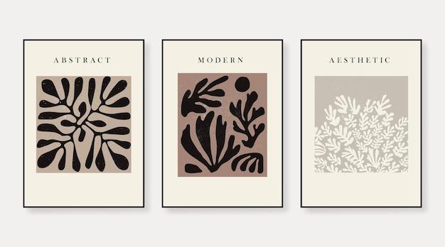 Conjunto de três pôsteres de boho de arte abstrata desenhados à mão em várias formas e objetos de doodle