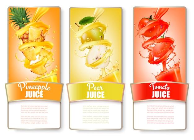 Conjunto de três rótulos de frutas em splash de suco. abacaxi, pêra, tomate. .