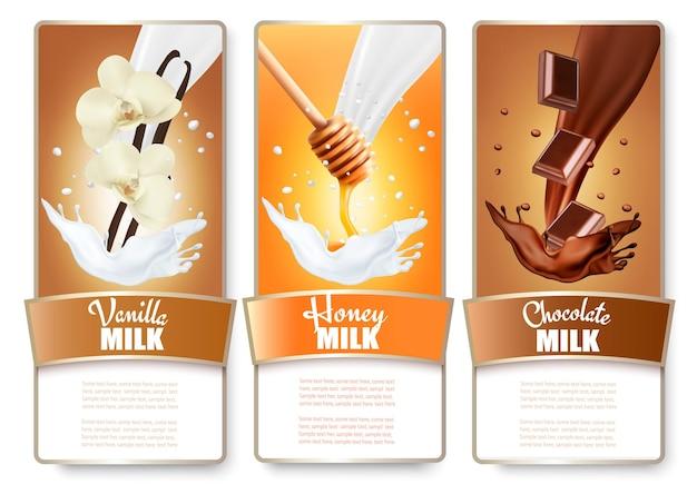Conjunto de três rótulos de salpicos de leite com chocolate, mel e baunilha.