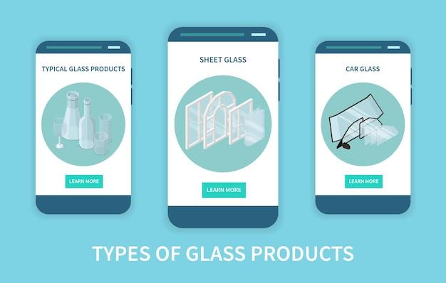Conjunto de três telas de aplicativos de produção de vidro vertical