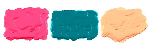 Conjunto de três texturas de tinta acrílica aquarela espessa