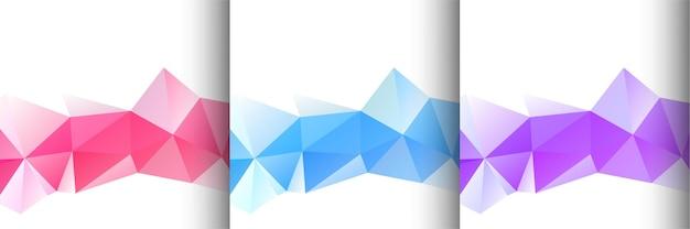 Conjunto de três vetores coloridos de fundo poligonal