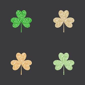 Conjunto de trevos de glitter dourado e verde