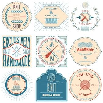 Conjunto de tricô do vintage etiqueta emblemas e elementos de design do vetor