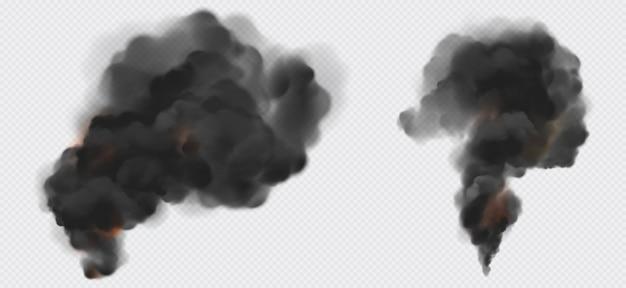 Conjunto de trilhas de fumaça ou vapor preto, poluição industrial