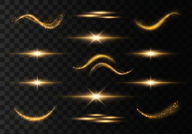 Conjunto de trilhas leves cintilantes douradas.