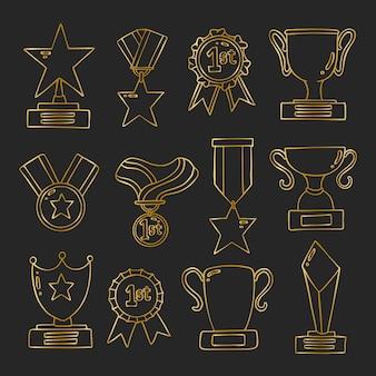 Conjunto de troféu medalha doolde dourado desenhado à mão