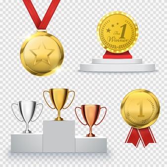 Conjunto de troféu vencedor isolado na transparente. modelo de prêmio. medalha e pódio
