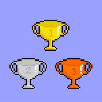Conjunto de troféus com estilo pixel art