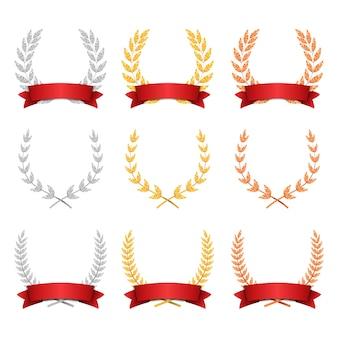 Conjunto de troféus de coroa de louro