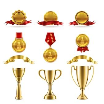 Conjunto de troféus de esporte ou jogo