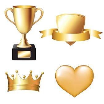 Conjunto de troféus de ouro, ilustração