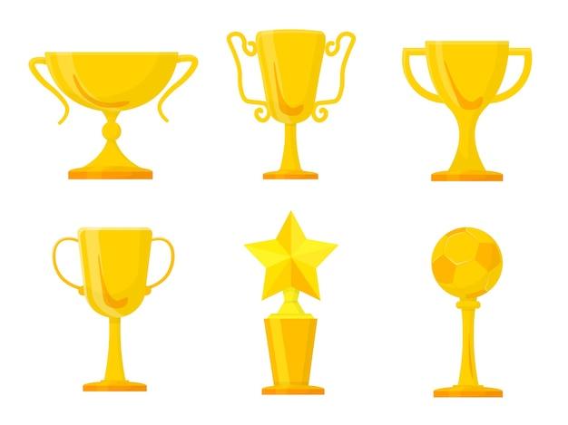 Conjunto de troféus de ouro, taças e taças de conquistas esportivas.