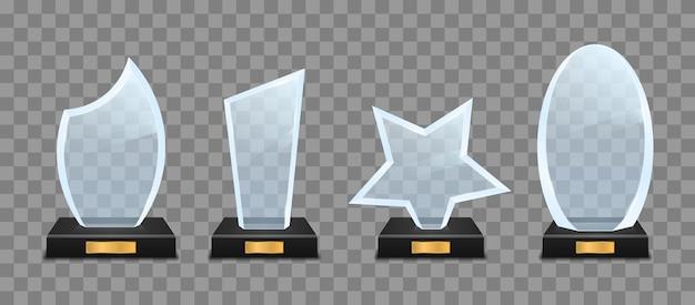 Conjunto de troféus de vidro em fundo transparente