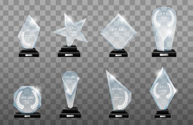 Conjunto de troféus de vidro vencedor