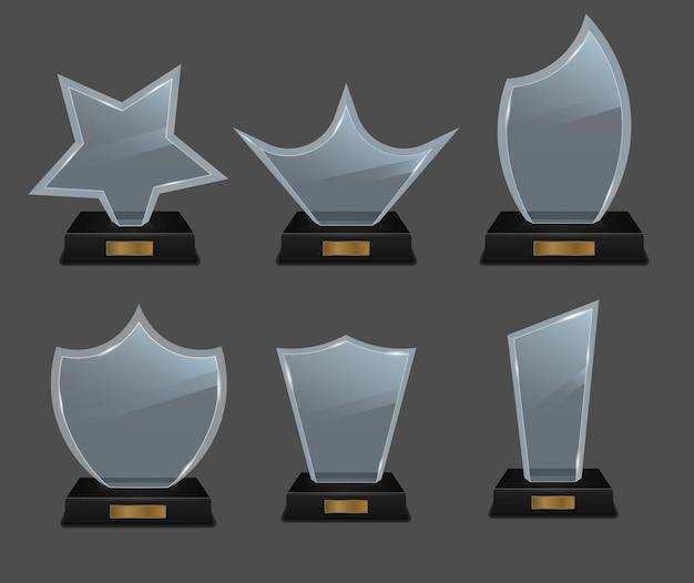 Conjunto de troféus de vidro