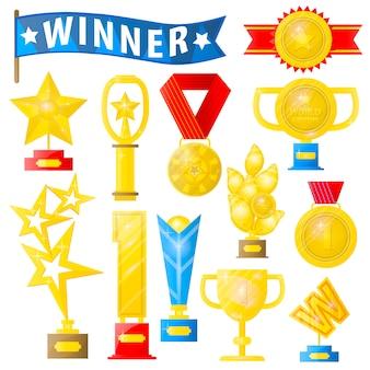 Conjunto de troféus e medalhas