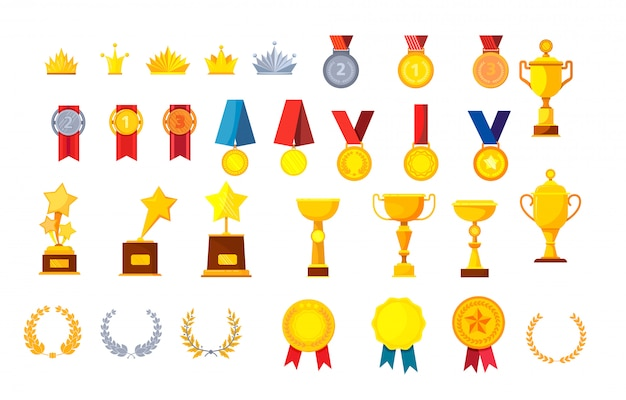 Conjunto de troféus e prêmios s