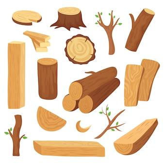 Conjunto de troncos e troncos de madeira